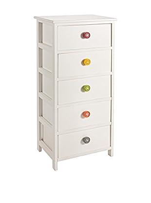 Schubladencontainer 5C Button weiß