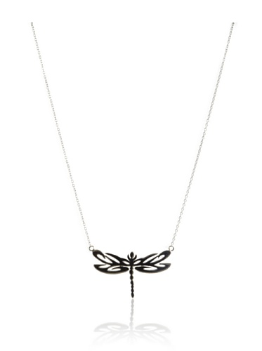Catherine Angiel Silver & Black Rhodium Dragonfly Pendant Necklace