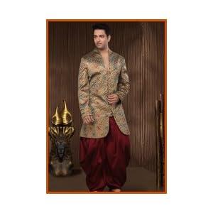 Utsav Fashion MKA41 Indo-Western Suit - Chocolate Brown