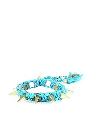 Ettika Cyan & 18K Gold-Plated Vintage Ribbon Bracelet with Pyramid Spikes