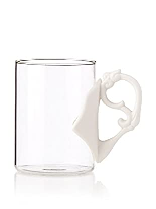 Seletti Rococo Era Glass Mug with a Porcelain Handle
