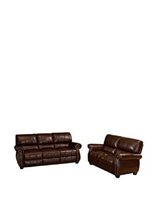 Abbyson Living Lea-Lee Italian Leather 2Pc Sofa And Loveseat, Burgundy