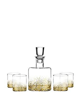 Fitz & Floyd Gold Luster 5-Piece Whiskey Decanter Set