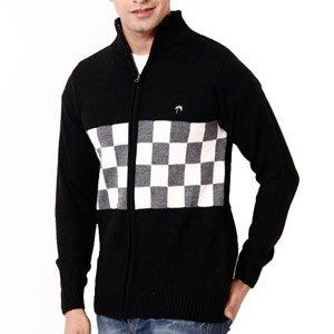 FabTree Black Checks Full Sleeves Sweater for Men - SK-304-BK