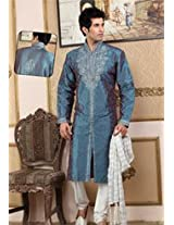 Dusty Blue Raw Silk Embroidered Kurta with Churidar