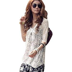Women's Fashion Two-Piece Chiffon Lace Two-piece Asymmetric Casual Dress/ Tunic