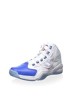 Reebok Men's Q96 Crossexamine Mid Basketball Athletic Sneaker (White/Vital Blue/Stadium Red)
