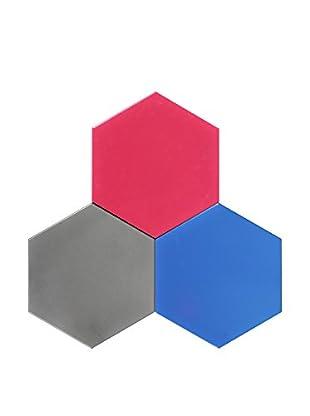 Nine6 Design Set of 3 Magnetic Dry Erasable Wall Panels, Magenta/Blue/Silver