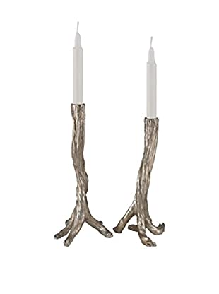 Branch Candle Holders, Silver Leaf