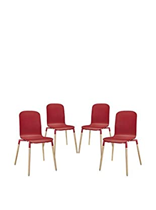 Modway Set of 4 Stack Wood Dining Chairs, Red