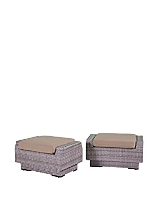 RST Brands Cannes Set of 2 Club Ottomans, Beige