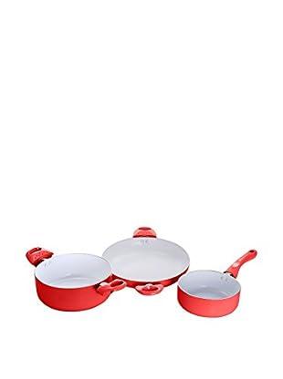 CERAMIC Batería de cocina 3 Piezas K001-R Rojo
