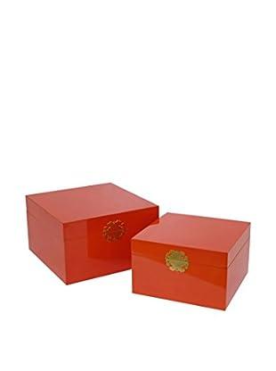 Three Hands Set of 2 Tall Boxes, Orange