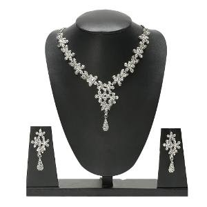 Zaveri Pearls Austrian Diamond Necklace Set