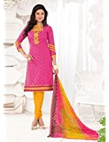 Saara Pink And Yellow Embroidered Dress Material - 148D6012