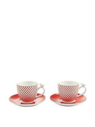 VILLA D'ESTE HOME Kaffeetasse mit Untertasse 2er Set Jasmine rot/weiß