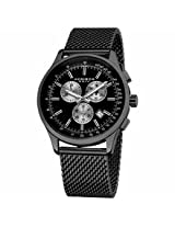 Akribos Chronograph Black Dial Black Steel Mesh Mens Watch Ak625Bk