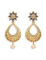 Enchanting Blue N Gold Dangler Earring