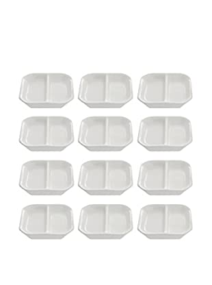 10 Strawberry Street Set of 12 Whittier Divided Sauce Dishes, White