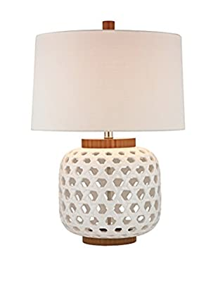 Artistic Lighting White Lamp with Bleached Wood Cap And Base