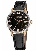 August Steiner Black Dial Rose Gold-Tone Ladies Watch As8056Rg