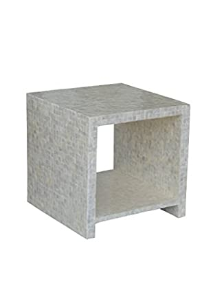 Jeffan Uptown Cube Side Table With Capiz Shelf, White/Gray