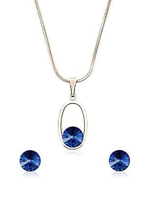 Annie Ram Conjunto de cordón y pendientes Rivoli Oval Azul
