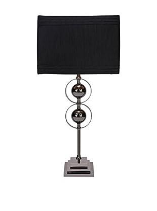 Metal 1-Light Table Lamp, Silver/Black