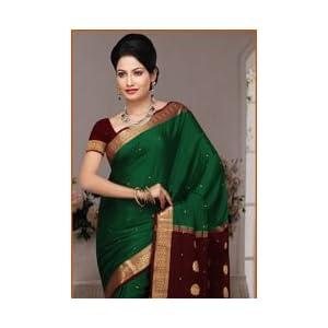 Green Pure Mysore Silk Saree with Blouse