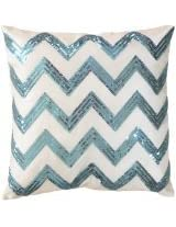 Decorative Sequins Zig Zag Stripes Pattern Throw Pillow COVER 18 Blue