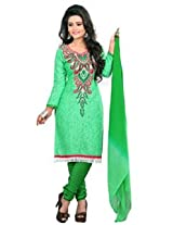 7 Colors Lifestyle Light Green Coloured Cotton Unstitched Churidar Material - AEADR2012HYBY