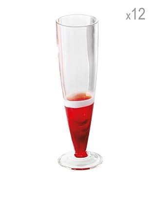 Guzzini Set 12 Flute Rosso