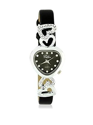SHINY CRISTAL Uhr mit Japanischem Quarzuhrwerk  silber/schwarz