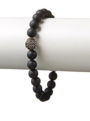 Stephen Oliver Matte Black Onyx & Sterling Silver Bead Bracelet