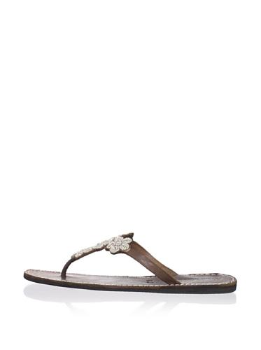 Laidback London Women's Robyn Thong Sandal (Silver)