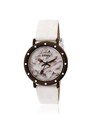 Crayo Women's CR2106 Slice of Time White Leather Watch
