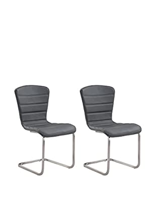 Armen Living Cameo Set of 2 Modern Side Chairs, Gray