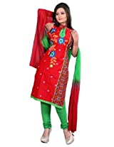 7 Colors Lifestyle Red Coloured Cotton Unstitched Churidar Material - ACXDR2207KI12