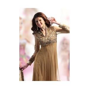 Utsav Fashion KSX81A Semi Stitched Anarkali Suit - Gold