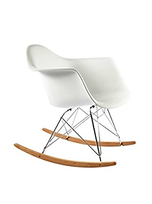 Control Brand The Mid-Century Rocking Armchair, White/Ash Wood