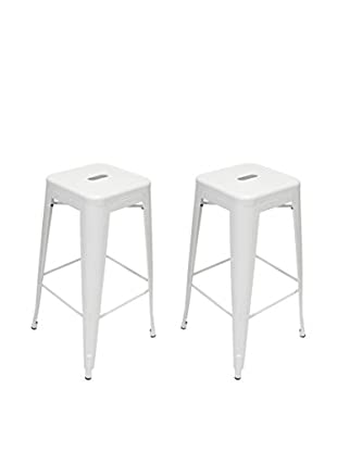 Aeon Euro Home Collection Set of 2 Galaxy Bar Stools, White