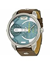 Diesel Mini Daddy Dual Time Dial Brown Leather Mens Watch Dz7321