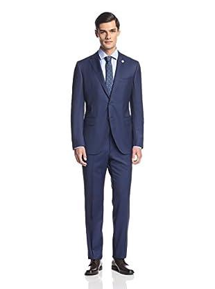 Lubiam Men's Micro Check Notch Lapel Suit
