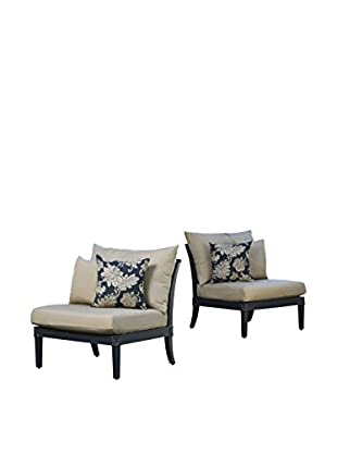 RST Brands Astoria Set of 2 Armless Chairs, Beige