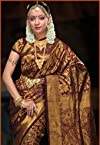 Maroon and Black Kanchipuram Pure silk Saree with Blouse