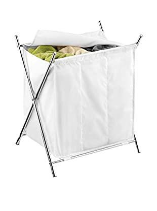 Honey-Can-Do Chrome 3-Compartment Folding Hamper with Cover