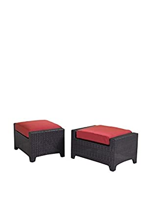 RST Brands Deco Set of 2 Club Chair Ottomans, Red