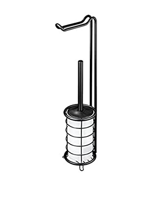 InterDesign Forma Toilet Tissue Stand and Bowl Brush Combo, Frost/Matte Black