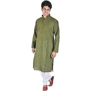 Plain Khadi Kurta with White Pajama Set - Cotton