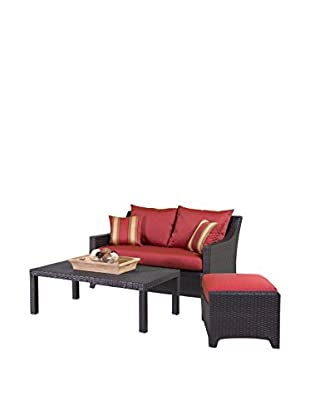 RST Brands Deco Loveseat & Ottoman With Coffee Table Set, Red